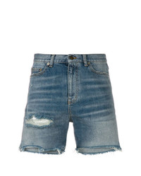 Синие джинсовые рваные шорты от Saint Laurent