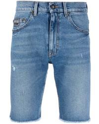 Мужские синие джинсовые рваные шорты от VERSACE JEANS COUTURE