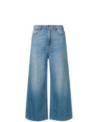 Синие джинсовые широкие брюки