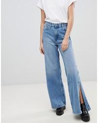 Синие джинсовые широкие брюки от Dr. Denim
