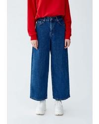 Синие джинсовые широкие брюки от Pull&Bear