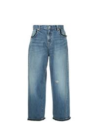 Синие джинсовые широкие брюки от Undercover