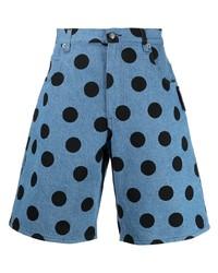 Мужские синие джинсовые шорты в горошек от Moschino