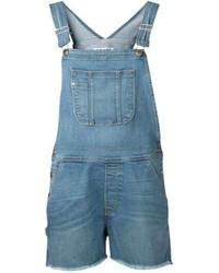 Синие джинсовые шорты-комбинезон