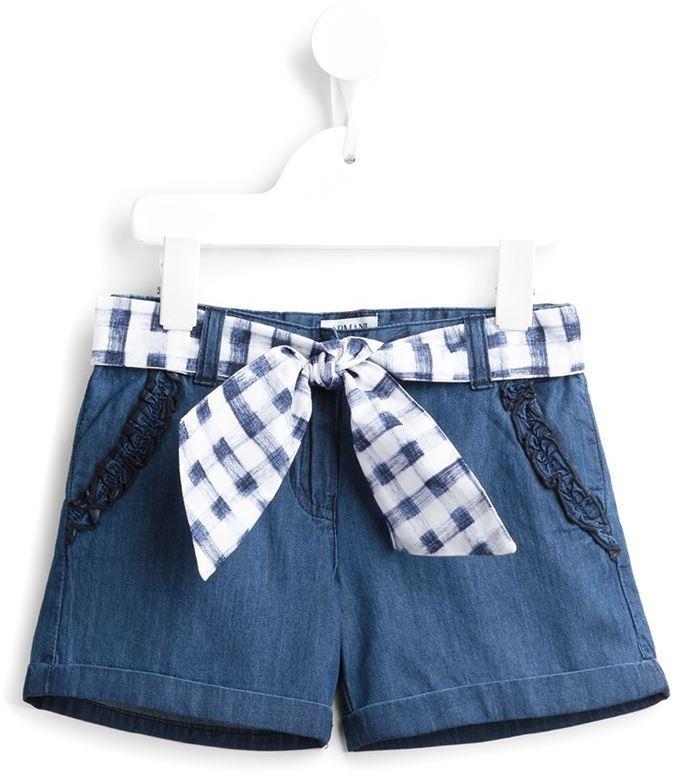 Детские синие джинсовые шорты для девочке от Armani Junior