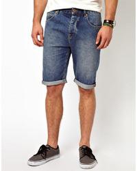 Мужские синие джинсовые шорты от Asos