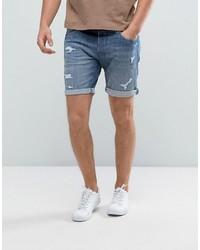 Мужские синие джинсовые шорты от Selected