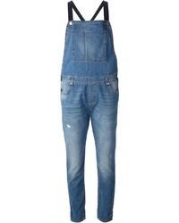 Синие джинсовые штаны-комбинезон