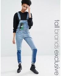 Женские синие джинсовые штаны-комбинезон