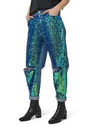 Синие джинсы-бойфренды с пайетками