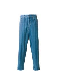 Синие джинсы в вертикальную полоску
