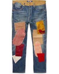 Синие джинсы в стиле пэчворк