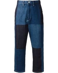 Мужские синие джинсы в стиле пэчворк