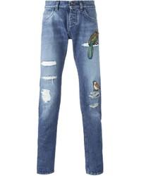 Мужские синие джинсы в стиле пэчворк от Dolce & Gabbana
