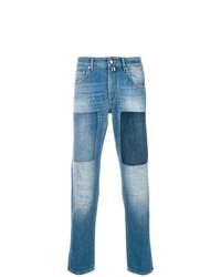 Мужские синие джинсы в стиле пэчворк от Jacob Cohen