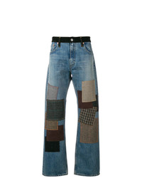 Мужские синие джинсы в стиле пэчворк от Junya Watanabe MAN