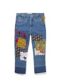 Мужские синие джинсы в стиле пэчворк от Loewe