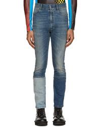 Мужские синие джинсы в стиле пэчворк от Maison Margiela