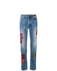 Мужские синие джинсы в стиле пэчворк от Marcelo Burlon County of Milan
