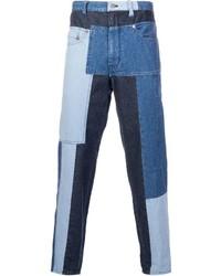 Мужские синие джинсы в стиле пэчворк от Miharayasuhiro