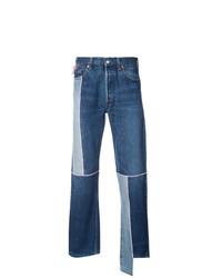 Мужские синие джинсы в стиле пэчворк от Neith Nyer
