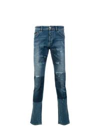 Мужские синие джинсы в стиле пэчворк от Philipp Plein