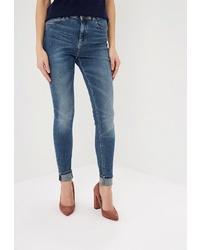 Синие джинсы скинни от Colin's