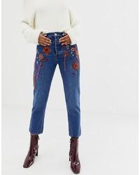 Женские синие джинсы с вышивкой от ASOS DESIGN