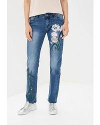 Женские синие джинсы с вышивкой от BLUE MONKEY