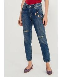 Женские синие джинсы с вышивкой от Colin's