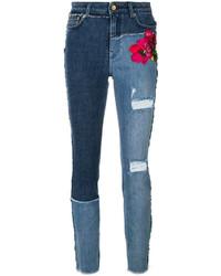 Женские синие джинсы с вышивкой от Dolce & Gabbana