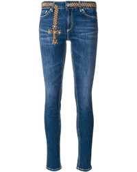 Женские синие джинсы с вышивкой от Dondup