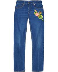 Женские синие джинсы с вышивкой от Gucci