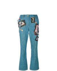 Женские синие джинсы с вышивкой от John Galliano Vintage