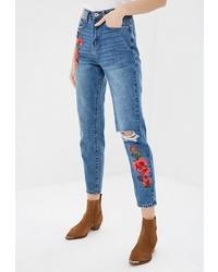 Женские синие джинсы с вышивкой от Modis