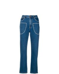 Женские синие джинсы с вышивкой от See by Chloe