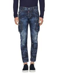 Синие джинсы с камуфляжным принтом