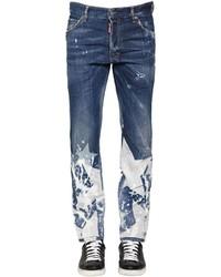 Синие джинсы с принтом