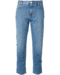 Синие джинсы с украшением