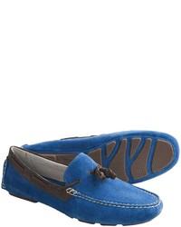 Синие замшевые лоферы с кисточками