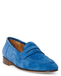 Синие замшевые лоферы