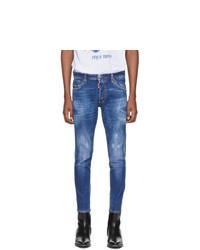 Мужские синие зауженные джинсы от DSQUARED2