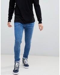 Мужские синие зауженные джинсы от Weekday