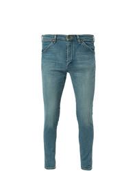Мужские синие зауженные джинсы от White Mountaineering