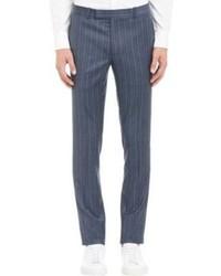 Синие классические брюки в вертикальную полоску