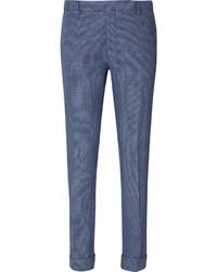 Синие классические брюки в клетку