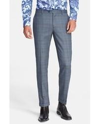 Синие классические брюки в шотландскую клетку