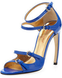 Синие кожаные босоножки на каблуке
