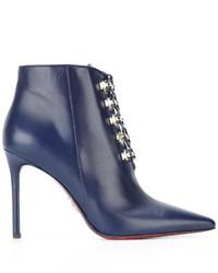 Синие кожаные ботильоны на шнуровке