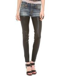 Женские синие кожаные джинсы скинни от R 13